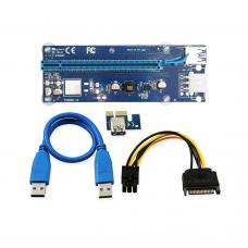 Удължител No Brand Riser, PCI-E 1X to 16X + USB 3.0 Кабел, Син - 17049