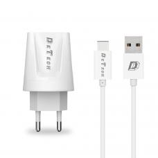 Мрежово зарядно устройство, DeTech, DE-01C, 5V/2.1A, 220V,2 x USB, С Type-C кабел, 1.0m, Бял - 14121