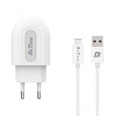 Мрежово зарядно устройство, DeTech, DE-28C, 5V/2.4A, 220V,1 x USB, С Type-C кабел, 1.0m, Бял - 14135