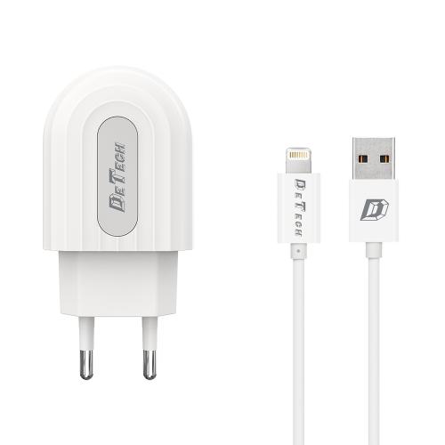Мрежово зарядно устройство DeTech DE-28i, 5V/2.1A, 220V,1 x USB, С Lightning кабел, 1.0m, Бял - 14134