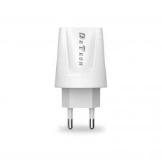 Мрежово зарядно устройство, DeTech, DE-01, 5V/2.1A 220V, 2 x USB, Бял - 14118