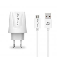 Мрежово зарядно устройство, DeTech, DE-01M, 5V/2.1A, 220V,2 x USB, С Micro USB кабел, 1.0m, Бял - 14119