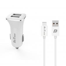 Зарядно устройство за кола DeTech, DE-C01C, 5V/2.4A, 12/24V, С Type-C кабел, 2 x USB, Бял - 14125