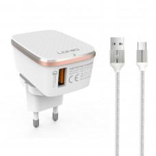 Мрежово зарядно устройство LDNIO A1204Q, Quick Charge 3.0, 1xUSB, Type-C Кабел, Бял - 14745