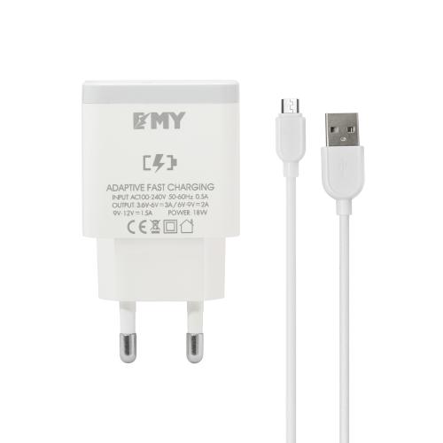 Мрежово зарядно устройство EMY MY-A301Q, Quick Charge 3.0, Micro USB Кабел, Бял - 14959