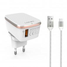 Мрежово зарядно устройство LDNIO A1204Q, Quick Charge 3.0, 1xUSB, Micro USB Кабел, Бял - 14743