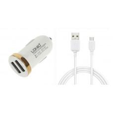 Зарядно устройство за кола, LDNIO DL-C22, 5V/2.1A, Универсално, 2 x USB, С Micro USB кабел, Бял, Черен - 14379