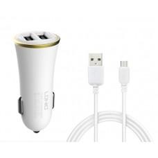 Зарядно устройство за кола, LDNIO DL-C28, 5V/3.4A, Универсално, 2 x USB, С Micro USB кабел, Бял, Черен - 14383