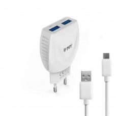Мрежово зарядно устройство, EMY MY-221, 5V 2.1A, Универсално, 2 x USB, С Type-C кабел, Бял - 14850