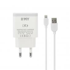Мрежово зарядно устройство EMY MY-A301Q, Quick Charge 3.0, Lightning Кабел, Бял - 14960