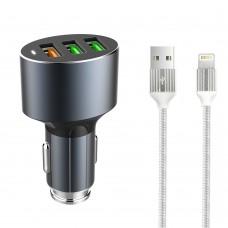 Зарядно устройство за кола LDNIO C703Q, Quick Charge 3.0, 3xUSB, С Lightning кабел (iPhone 5/6/7) - 14753