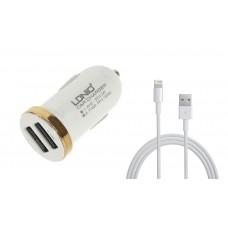 Зарядно устройство за кола, LDNIO DL-C22, 5V/2.1A, Универсално, 2 x USB, С кабел за iPhone 5/6/7SE, Бял, Черен - 14380
