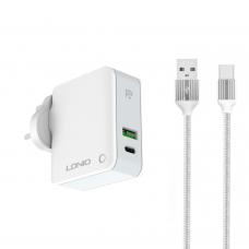 Мрежово зарядно устройство LDNIO A4403C, 1xUSB, 1xType-C PD, С Type-C кабел, Бял - 40093