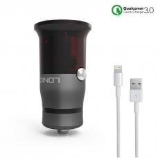 Зарядно устройство за кола, LDNIO C304Q, Quick Charge 3.0, С Lightning кабел (iPhone 5/6/7) - 14466