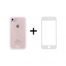 Комплект стъклен протектор + Калъф Remax Crystal, за iPhone 7/8, Бял - 52358