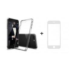 Комплект стъклен протектор + Калъф, Remax Crystal, за iPhone 7/7S, Бял - 52226