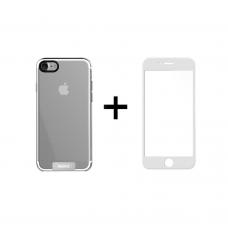 Комплект стъклен протектор + Калъф Remax Crystal, за iPhone 7/8 Plus, Черен - 52333