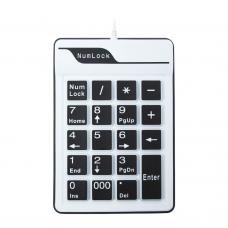 Клавиатура No Brand, NumPad, Силикон, USB, Бял - 6102