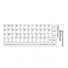 Букви за клавиатура, DeTech, Латиница, Бял  - 17045
