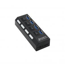 USB хъб No Brand, USB 3.0, 4 Порта, Черен - 12062