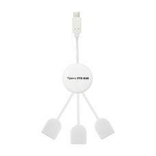 USB хъб No Brand, USB 3.1 Type-C, 3 Порта, Бял - 12050