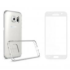 Комплект стъклен протектор със силиконови ръбове + Калъф, Remax Crystal, за Samsung Galaxy S7, Бял - 52239