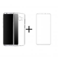 Комплект стъклен протектор + Калъф Remax Crystal, За Samsung Galaxy S8, Бял - 52302