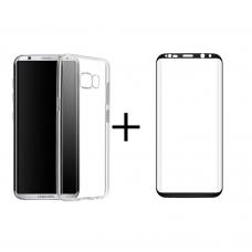 Комплект стъклен протектор + Калъф, Remax Crystal, за Samsung Galaxy S8 Plus, Черен - 52303